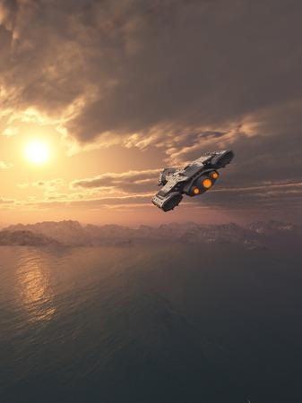 Science fiction ruimteschip vliegen in de atmosfeer van een aarde-achtige planeet bij zonsondergang