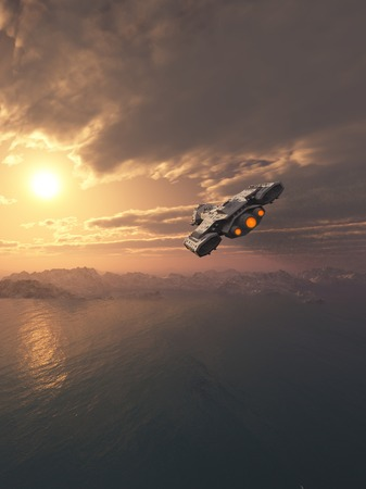 Science fiction spaceship flying inside the atmosphere of an earth-like planet at sunset photo