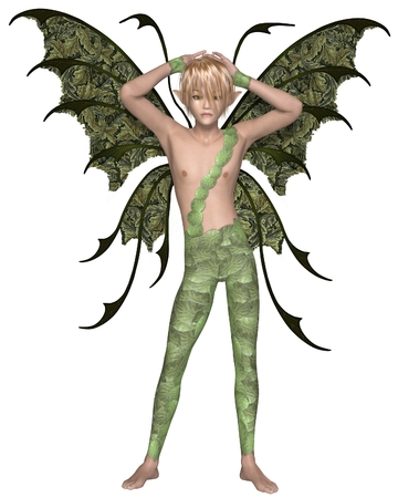 above head: Illustration of a Fairy boy dressed in green leaves with green wings and blonde hair standing with his arms above his head, 3d digitally rendered illustration Stock Photo