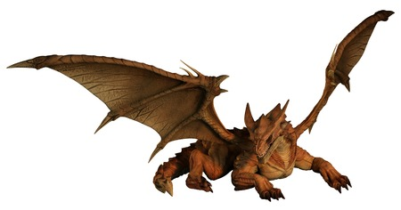 Large red dragon prowling, 3d digitally rendered illustration