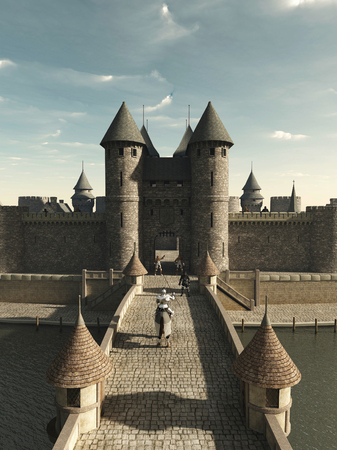 fortified: Illustration of a Medieval knight riding to the castle gate, 3d digitally rendered illustration