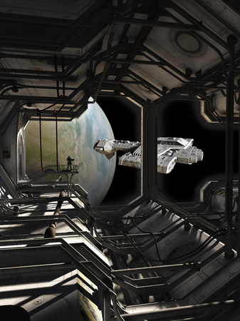 Illustration of a science fiction spaceship leaving dock watched by a space marine guard, 3d digitally rendered illustration illustration