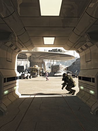 Illustration of an assassin emerging from the shadows in a busy spaceport in a futuristic science fiction city on a bright sunny day, 3d digitally rendered illustration illustration