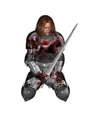 wounded: Illustration of a Wounded knight in bloodstained armour resting from battle, 3d digitally rendered illustration Stock Photo