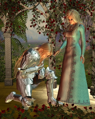 Fantasy illustration of Sir Launcelot  Lancelot  and Queen Guinevere from Arthurian legend in a rose arbour at sunset, 3d digitally rendered illustration