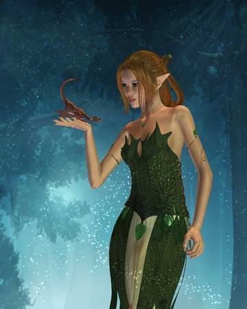 fey: Fantasy illustration of a beautiful elf woman and her tiny pet dragon in a fantasy woodland , 3d digitally rendered illustration