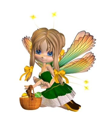 Cute toon easter fairy kneeling with a basket of eggs and chocolate bunny, 3d digitally rendered illustration
