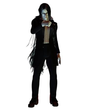 nosferatu: Fantasy illustration of a long-haired vampire wearing a dark suit, 3d digitally rendered illustration Stock Photo