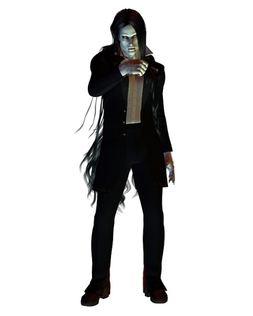 Fantasy illustration of a long-haired vampire wearing a dark suit, 3d digitally rendered illustration Stock Photo