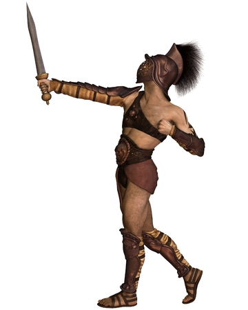 gladius: Illustration of a Roman gladiator based on the Murmillo or Myrmillo type with gladius short sword, helmet and armour in an heroic pose, 3d digitally rendered illustration