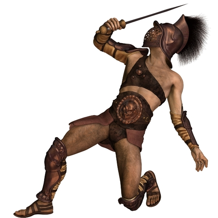 defensive: Illustration of a Roman gladiator based on the Murmillo or Myrmillo type with gladius short sword, helmet and armour in a defensive pose, 3d digitally rendered illustration Stock Photo