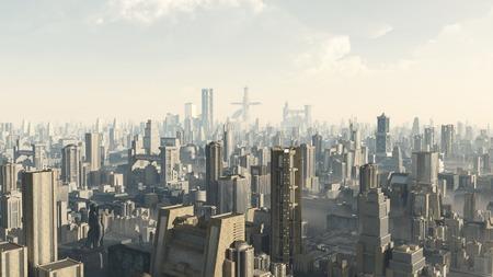 空想科学小説図、未来フィクション都市間でビューの 3 d レンダリングされたデジタル イラストレーション 写真素材