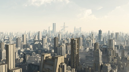 Science fiction illustration of the view across a futuristic sci-fi city, 3d digitally rendered illustration