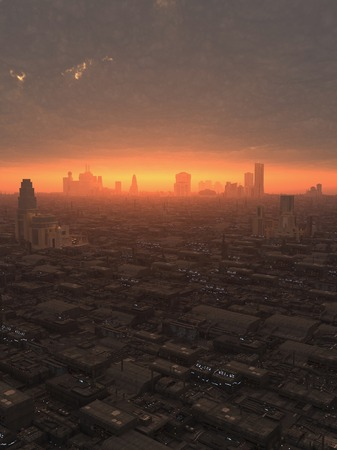 Science fiction illustration of the view over a future city at sunset, 3d digitally rendered illustration Foto de archivo