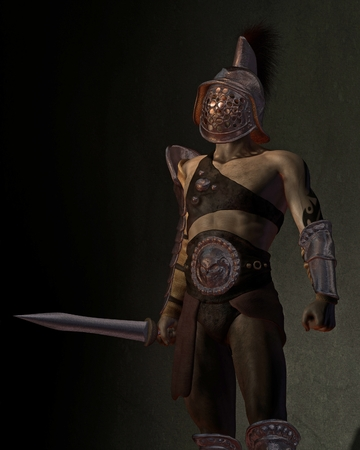 warrior pose: Illustration of a Roman gladiator based on the Murmillo or Myrmillo type with gladius short sword, helmet and armour standing in the shadows, 3d digitally rendered illustration