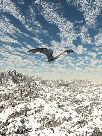 flying dragon: Fantasy illustration of a grey dragon flying over snowy winter mountains, 3d digitally rendered illustration