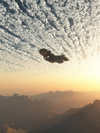 alien planet: Science fiction illustration of a spaceship flying under the clouds of an earth-like planet at sunset, 3d digitally rendered illustration