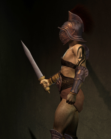 gladius: Illustration of a Roman gladiator based on the Murmillo or Myrmillo type with gladius short sword, helmet and armour standing in the shadows, side view, 3d digitally rendered illustration Stock Photo