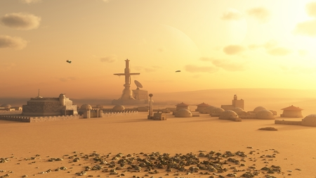 scifi: Science fiction illustration of a future colony settlement on Mars, 3d digitally rendered illustration Stock Photo