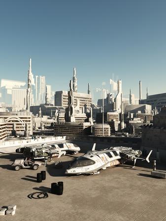 Science fiction illustratie van een drukke ruimtehaven in een toekomstige stad op een zonnige dag, 3d digitaal teruggegeven illustratie