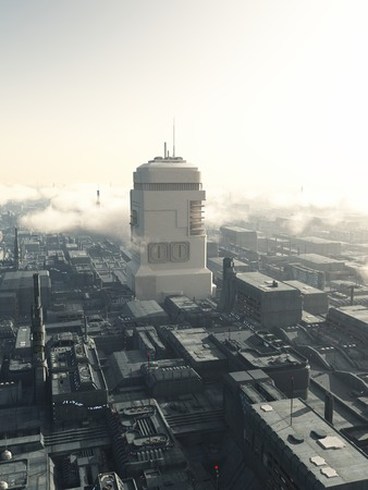 towerblock: Science fiction illustration of the view of future city streets dominated by a giant tower, 3d digitally rendered illustration Stock Photo