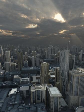 Science fiction illustratie van een toekomstige stad met onweerswolken passeren overhead en stralen van de zon, 3d digitaal teruggegeven illustratie Stockfoto