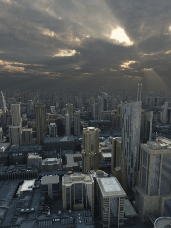 Science fiction illustration of a future city with storm clouds passing overhead and rays of sunshine, 3d digitally rendered illustration Imagens