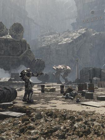 Ilustración de ciencia ficción de una batalla en las calles de una ciudad del futuro en la lluvia, 3d rindió la ilustración digital