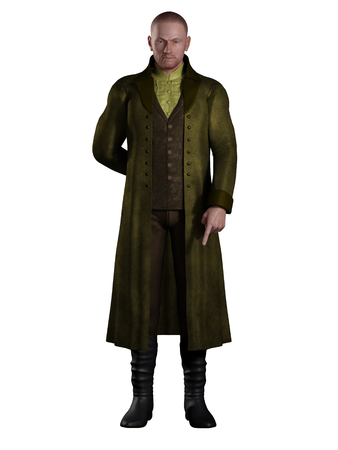 Illustration of an English Regency period gentleman dressed in a suit and long green coat, 3d digitally rendered illustration