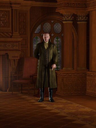 panelling: Illustration of an English Regency period gentleman dressed in a suit and long green coat standing in a candlelit study, 3d digitally rendered illustration Stock Photo