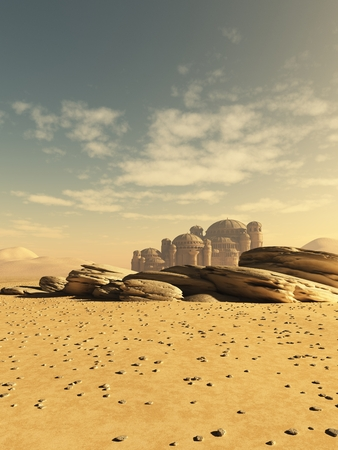 Fantasy or science fiction illustration of a distant town in the desert, 3d digitally rendered illustration