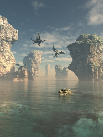Fantasy illustration of a group of dragons flying from the cliffs and swimming in the ocean between sea stacks, 3d digitally rendered illustration