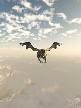 Fantasy illustration of a green dragon flying over high mountains, 3d digitally rendered illustration Stock Photo