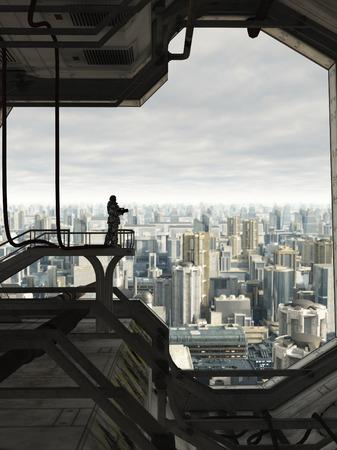Science-Fiction-Illustration eines einsamen Space Marine Wache wacht über die Skyline einer Stadt der Zukunft, 3d digital gerenderten Bild