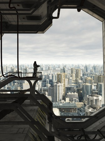 Science fiction illustration of a lone Space Marine guard watching over the skyline of a future city, 3d digitally rendered illustration