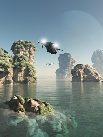 Science fiction illustration of scout patrol ships flying through sea stacks on an alien world, 3d digitally rendered illustration Foto de archivo