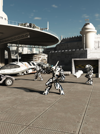 Science fiction illustration of battle robots ready to attack or defend the spaceport in a future city, 3d digitally rendered illustration illustration