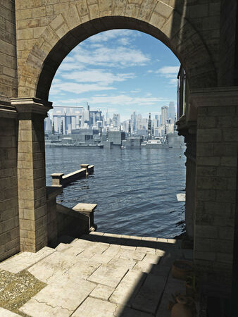 stone arch: Science fiction illustration of the view through an archway in the old town across the bay to the modern buildings of the future city on a bright sunny day, 3d digitally rendered illustration