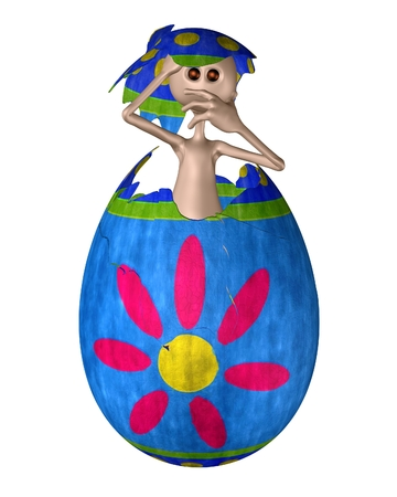 extra terrestrial: Alien creature hatching from an Easter Egg, 3d digitally rendered illustration