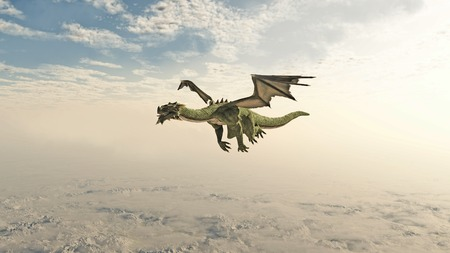 fantasy creature: Fantasy illustration of a green dragon flying through clouds over high mountains, 3d digitally rendered illustration Stock Photo