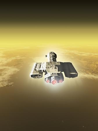 raumschiff: Science-Fiction-Illustration von einem Raumschiff in der Atmosph�re eines fremden Planeten, 3D digital gerendert darstellung