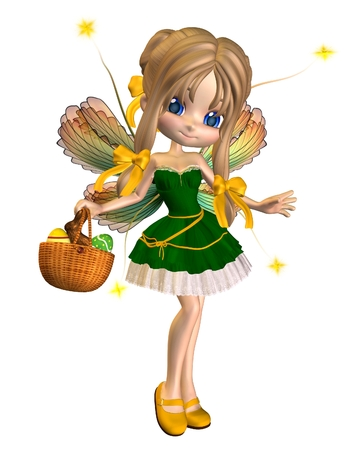 Cute toon easter fairy with a basket of eggs and chocolate bunny, 3d digitally rendered illustration