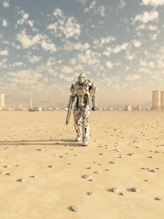 fiction: Science fiction illustration of a space marine trooper on patrol in the desert outside a future city, 3d digitally rendered illustration Stock Photo