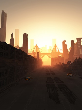 Science fiction illustration of the streets and bridge of a future city at sunrise, 3d digitally rendered illustration
