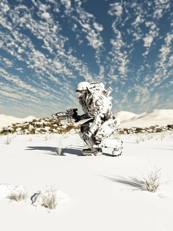 Science fiction illustration of a space marine trooper on patrol in a snow covered wilderness, 3d digitally rendered illustration illustration