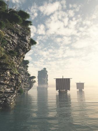 bateau voile: Viking drakkars qui suit la c�te dans des eaux inconnues, 3d num�riquement rendu illustration