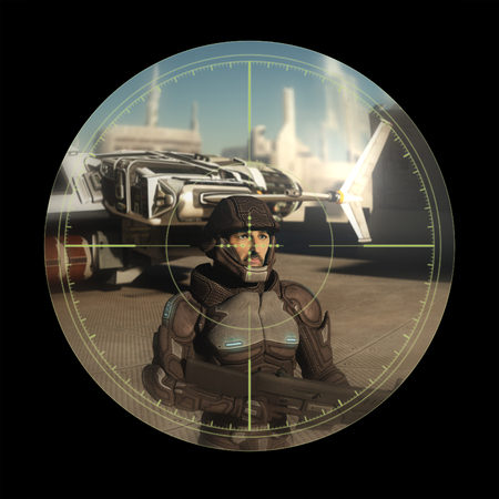 Science fiction illustration of a future soldier seen through the scope of an assassins rifle, 3d digitally rendered illustration illustration