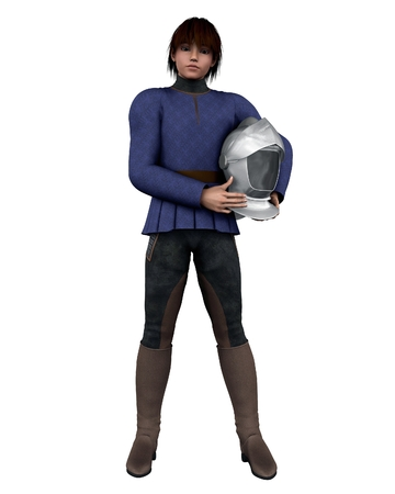 doublet: Illustration of a Young Medieval squire holding a knight s helmet, 3d digitally rendered illustration