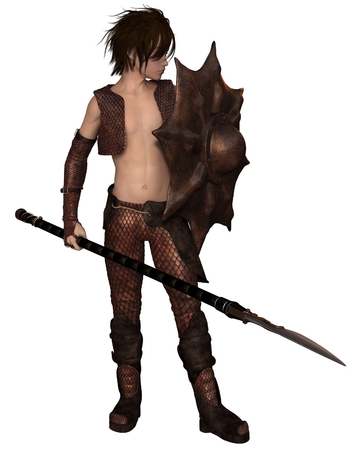 Fantasy illustration of a warrior elf boy wearing bronze dragon scale armour and holding a spear and shield, 3d digitally rendered illustration
