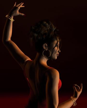 bailando flamenco: Ilustración Retrato de un bailarín español de flamenco en el escenario con una iluminación espectacular, la vista atrás, 3d rindió la ilustración digital